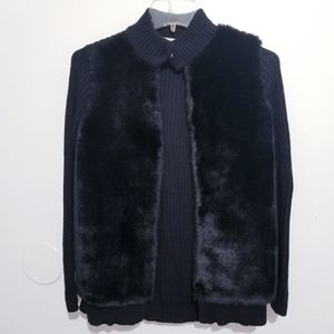 Michael Kors knitted jacket with faux front fur